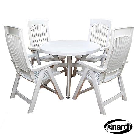 Nardi 100cm Toscana Uni mit 4Flora Stuhl-Set, weiß