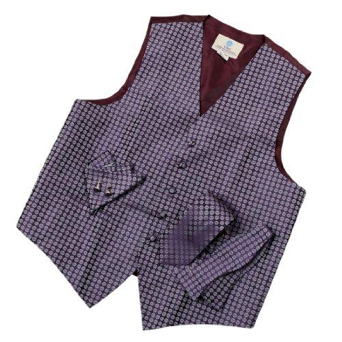 VS1018 Mens Vest Purple Pattern Tie Cufflinks Hanky Bowtie Xmas Gifts By Y&G