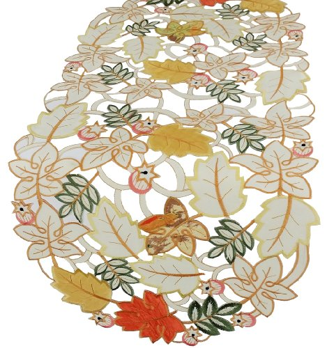 Xia Home Fashions Harvest Splendor Embroidered Cutwork 12 By 28-Inch Table Runner, Mini front-209773