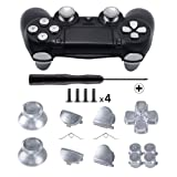 TOMSIN Metal Buttons for DualShock 4, Aluminum Metal Thumbsticks Analog Grip & Bullet Buttons & D-pad & L1 R1 L2 R2 Trigger for PS4 Controller Gen 1 (Silver) (Color: Silver)