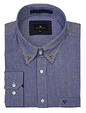 Cotton Valley Cotton Rich Blue Gingham Check Long Sleeved Shirt (15635) in Size 2XL