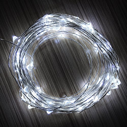 T.Y.S Lighting 100 LED Fairy Lights Waterproof Starry String Lights For Seasonal Decorative 32.8 ft, (Silver Wire, Cool White) (Activ Energy Battery compare prices)