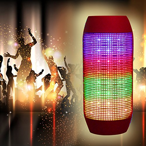 Agptek® Multicolor Glowing Wireless Bluetooth Speakers, 3 Led Lights For Party Music With Iphone6,Iphone6 Plus,Ipad, Samsung(Red)