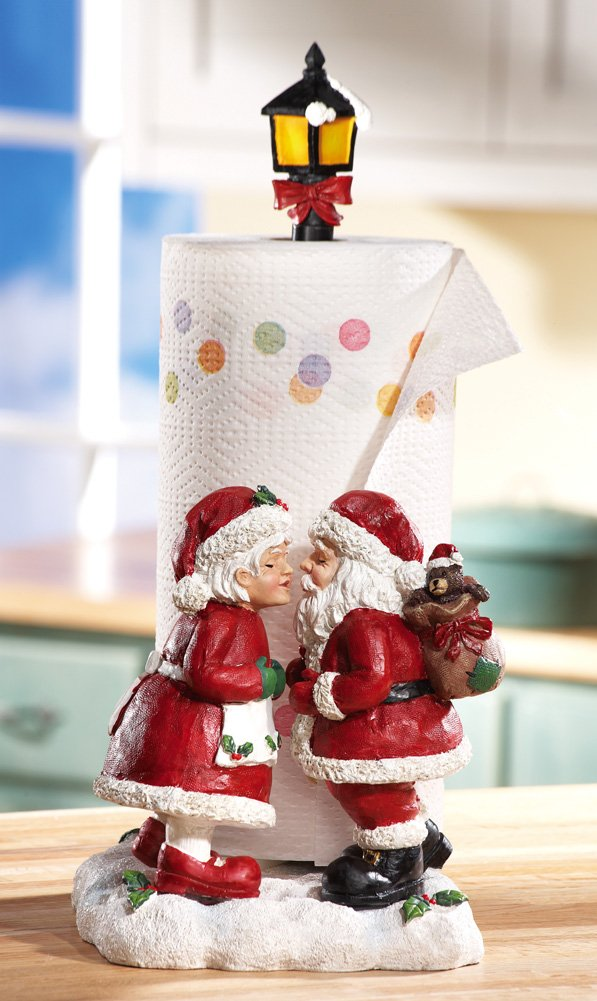 Mr & Mrs. Santa Claus Christmas Paper Towel Holder