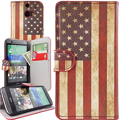 Mylife (Tm) Rustic Red + White And Blue American Flag {Patriotic Design} Faux Leather (Card, Cash And Id Holder + Magnetic Closing) Slim Wallet For The All-New Htc One M8 Android Smartphone - Aka, 2Nd Gen Htc One (External Textured Synthetic Leather With