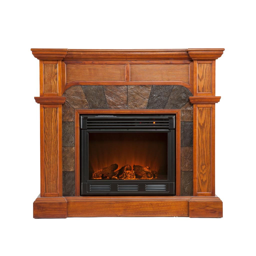 Sei Cartwright Convertible Electric Fireplace Slate Mission Oak Gel Fuel Fireplaces