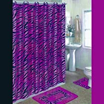 15-Piece BLACK AND PINK ZEBRA Bathroom Set: 12-Fabric Covered Rings,2-Rugs/Mats, 1-Fabric Shower Curtain