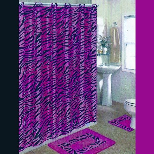 Black and pink zebra 15 piece bathroom set 2 rugs mats 1 for Pink and black bathroom sets
