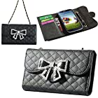 Luxury 3D Bling Bow Fashion Wallet Flip Feature with Credit/id Card Slots/holder&strap PU Leather Hand Bag Case Cover For Smart Mobile Phones (Samsung Galaxy Note 2 II N7100 T889 i605, Black)