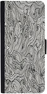 Snoogg Seamless Hand Drawn Waves Texture Designer Protective Phone Flip Case Cover For Phicomm Energy 653 4G