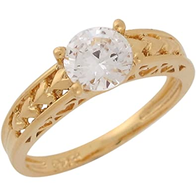 14ct Yellow Gold White CZ Hearts And Filigree Ladies Wedding Engagement Ring