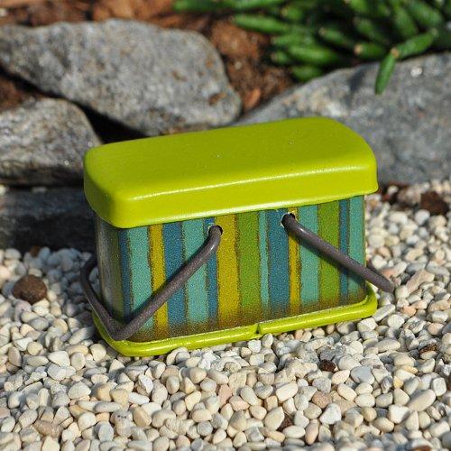 Miniature Fairy Garden Metal Picnic Basket, Color Options, Lime