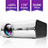 ViviMage C460 Mini Movie Projector, 2500 Lux 1080p Supported, Portable Home Cinema Indoor/Outdoor Use Compatible iPhone/PC/DVD/Fire TV Stick/Video Games (Color: White)