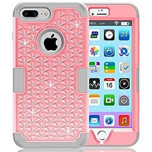 iPhone 7 Plus Case, PIXIU Cute Rhinestone Bling Studded Hybrid Diamond Cover Skin Phone Case For Apple iPhone 7 Plus (5.5) (2016)