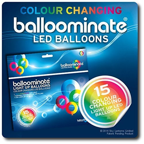 15 pack of Colour Changing LED Light Up Balloominate Balloons.