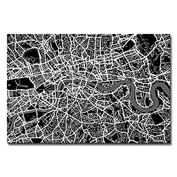 Trademark Fine Art London Street Map I by Michael Tompsett Canvas Wall Art, 30x47-Inch