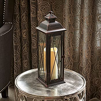 Smart Design STI84036LC Siena Metal Lantern with LED Candle, 16-Inch Tall, Antique Brown Finish, Includes Realistic Candle Powered By One Amber LED, Suitable For Both Indoor And Outdoor Use