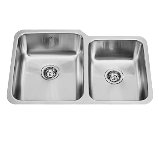 32 inch Undermount 60/40 Double Bowl 18 Gauge Stainless Steel Kitchen Sink, Double Basin Kitchen Sink