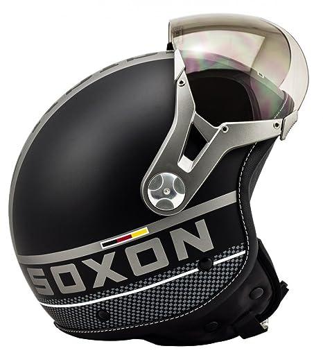 SOXON SP-325 noir casque JET moto Cruiser Pilot - Taille: XS S M L XL