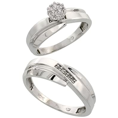 9ct White Gold 2-Piece Diamond Ring Set, 6mm Engagement Ring & 7mm Man's Wedding Band