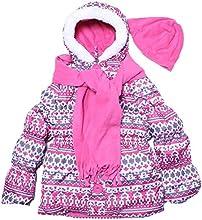 Pink Platinum-Little Girls 4-6X Puffer Coat Jacket Scarf amp Hat