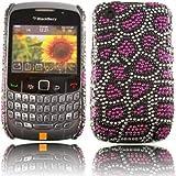 Diamante Diamond Case Cover For Blackberry Curve 8520 9300 / Leopard Spot Purple Design