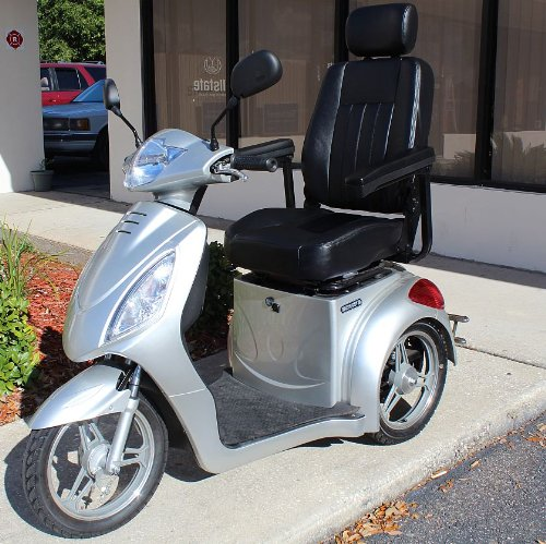 Challenger Sport Fast Electric Mobility Scooter High Power 15Mph Speed Trike - Silver Color
