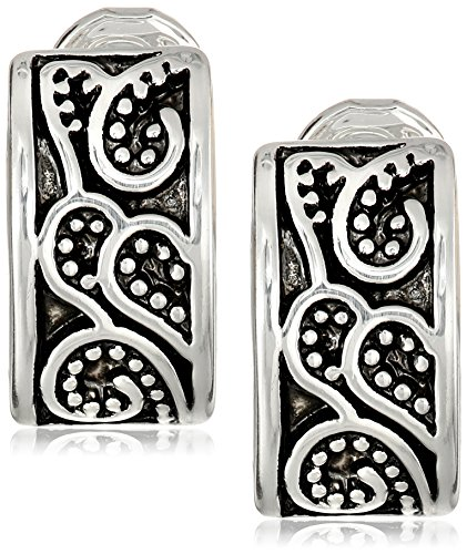 "Napier ""Napier Classics"" Silver-Tone Paisley Textured Clip Earrings"