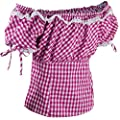 PAULGOS Damen Trachten Dirndl Bluse Carmenbluse Trachtenbluse Kariert --- Pink