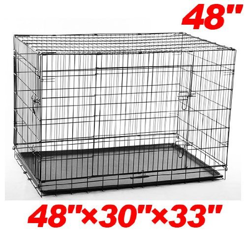"Pawhut 48"" 2-Door Folding Wire Pet Dog Crate - 48""L X 30""W X 33""H front-958830"