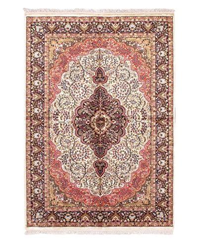 Hand-Knotted Kashmir Kerman Silk Rug, Pink, 5' 1 x 7' 4