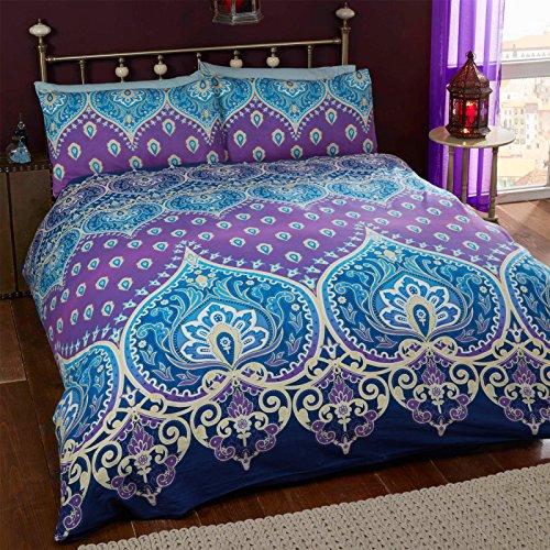 Just Contempo-Set copripiumino in stile marocchino, colore: viola/blu, King