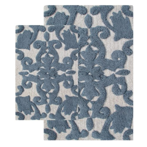 Chesapeake Merchandising 2-Piece Iron Gate Bath Rug Set, White And Grey front-566500