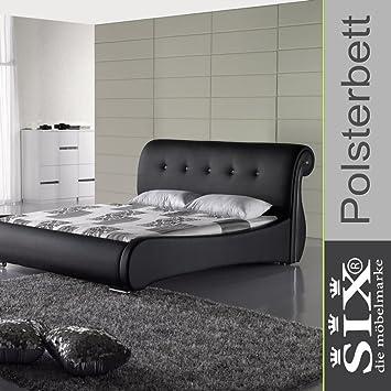 Polsterbett Doppelbett Lederbett Palazzo | Bett Kunstleder 180 x 200 Schwarz