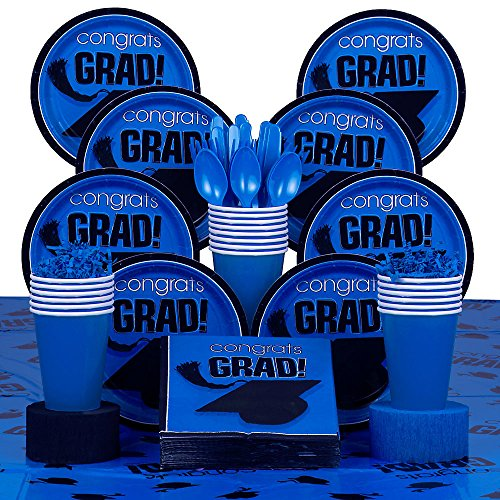 Blue Graduation Party Supplies Deluxe Value Full Kit w/ Table cover - Serves 18