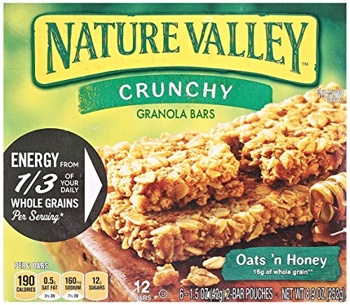 Nature Valley Crunchy Granola Bars, Oats N Honey, 2 bars (6 Pouches) 1.5 oz each
