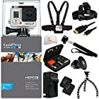 GoPro HERO3+ Silver Edition Camera Kit. Includes: Head Strap + Chest Strap + 2 Extended Life Replacment Batteries + Micro HDMI Cable + Premium Hard Cover Case + Tripod Adapter + More