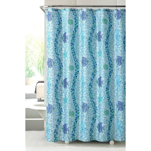 Catalina fish seashells starfish mosaic for Fish shower curtain