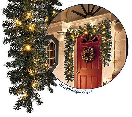 Weihnachtsgirlande in naturnaher tannenoptik f r innen und for Weihnachtslichterketten innen
