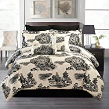 Artistic Linen 8 Piece French Toile Comforter Set Queen Multicolor