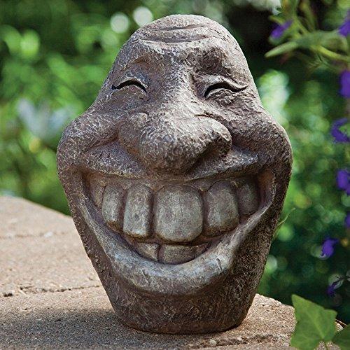 Big Stone Smiley Face Polyresin Garden Statue Ornament