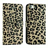 E.C.L USA Premium PU Leather Wallet Case Cover for iPhone 5 C (All Carriers). (iPhone 5 C, Leopard Pattern 1)