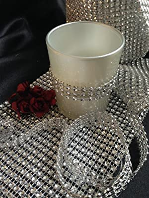 Spring Rose(TM) 30 Foot x 4.75 Inch Roll Silver Diamond Rhinestone Ribbon Wrap. Huge 24 Rows Wide. Easy to Cut to Size. Great For Use As Bridal or Wedding Decorations. A Must For Your Party Supplies. Meant to Impress.