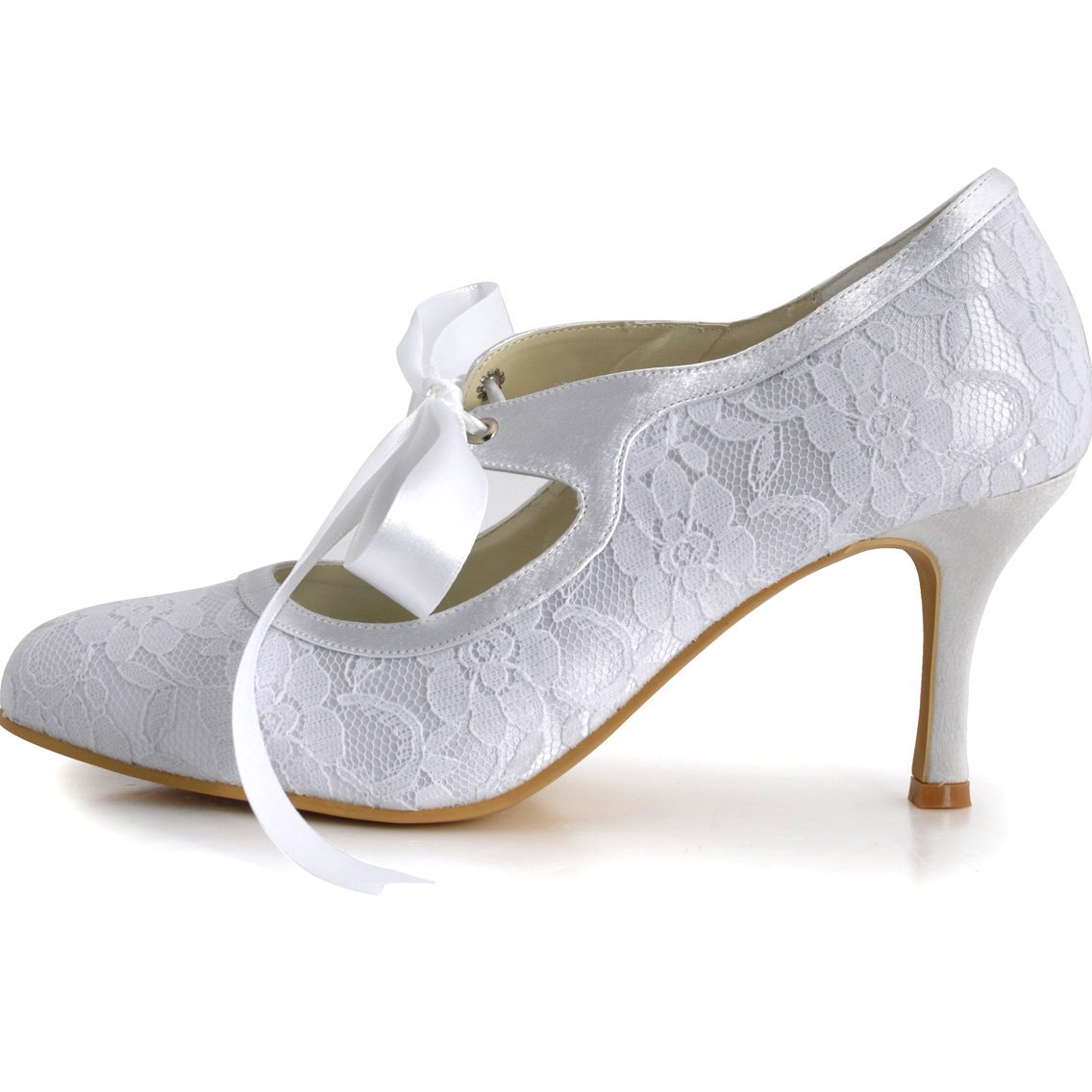 ElegantPark Women Mary Jane Closed Toe High Heel Pumps Lace Wedding Dress Shoes 1
