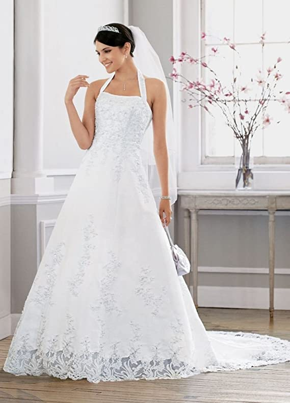SAMPLE Satin halter A-line Wedding Dress with Beaded Lace Applique Style..