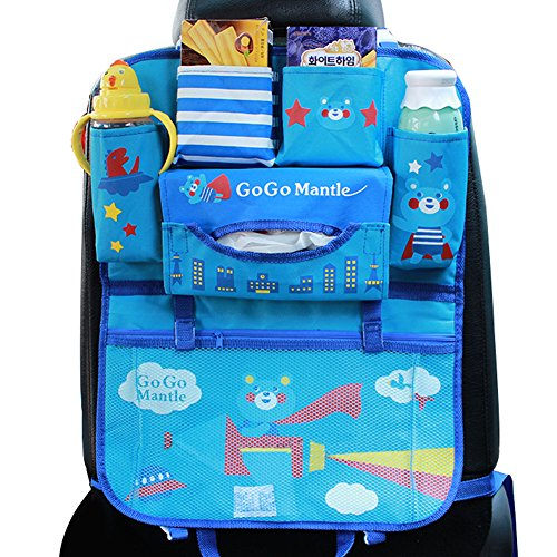 Best Price! Car Backseat Organizer Kick Mats - Auto Seat Back Protector Kids Toy Storage Blue