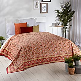 Sancarlos - Granfoulard multiusos estampado rajastan naranja - para sofá o cama - -