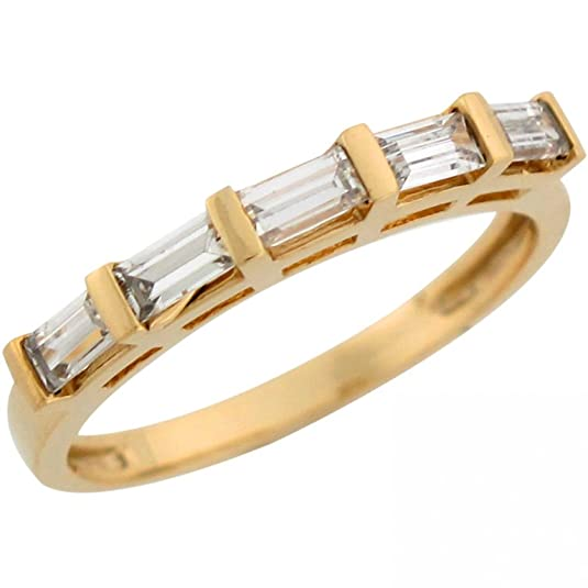 9ct Yellow Gold White Baguette CZ Ladies Fashion Wedding Band Ring
