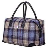 New Ladies Scottish Harris Tweed Blue Check Tartan Leather Holdall Travel Bag