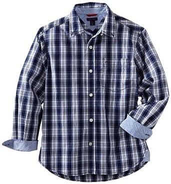 Tommy Hilfiger Big Boys' Thelonius Plaid Shirt, Yacht Navy, Small